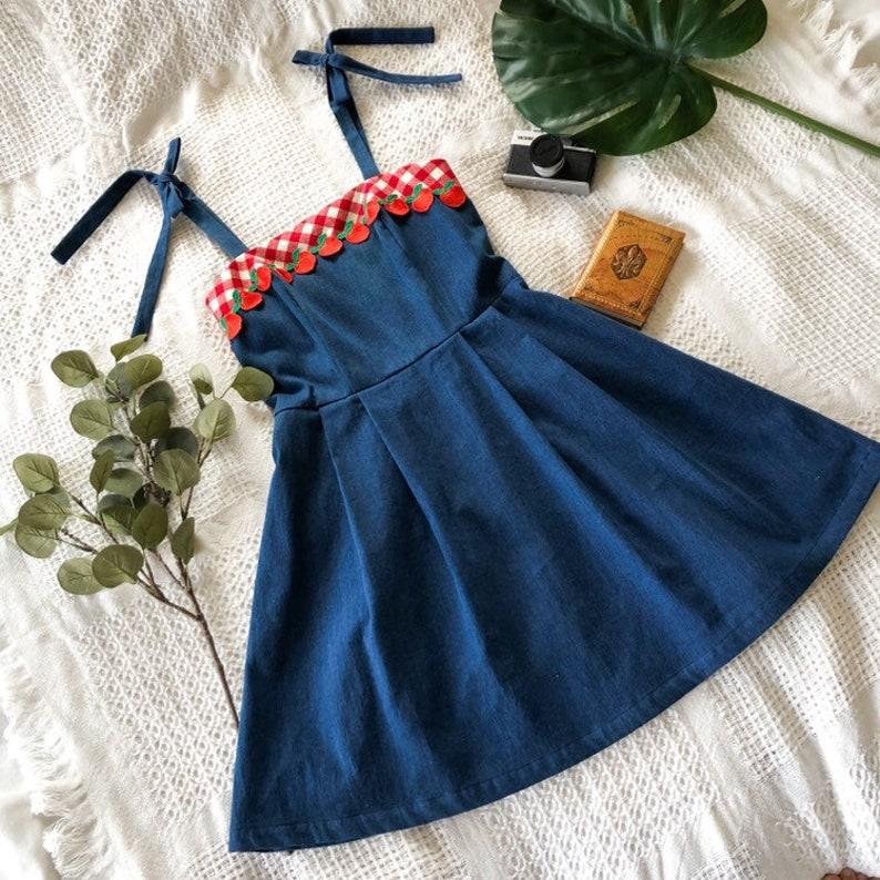 Apple Dress Retro Vintage Denim Dress Tied Straps Sundress Red image 0