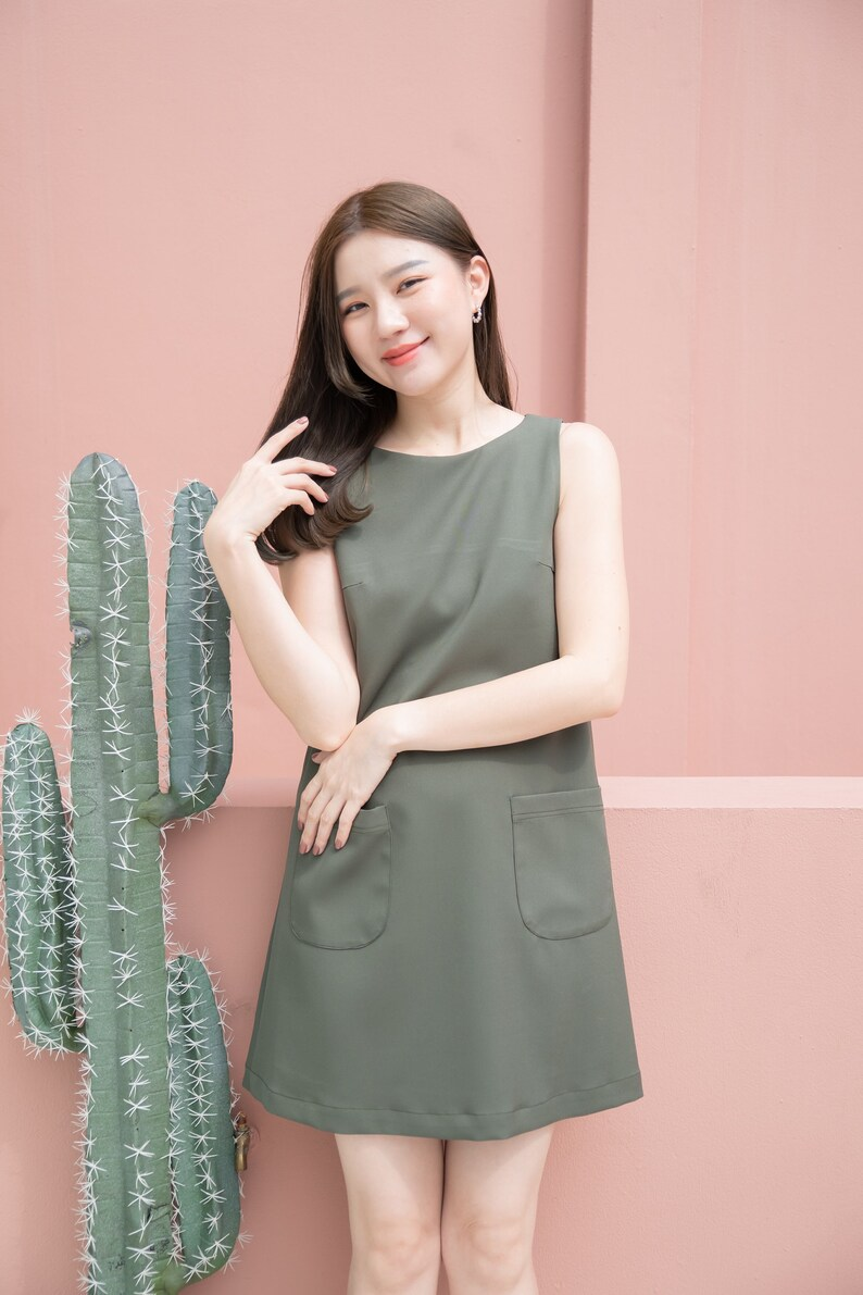 Minimal Clothing A Line Dress Green One Piece Sleeveless Front image 0