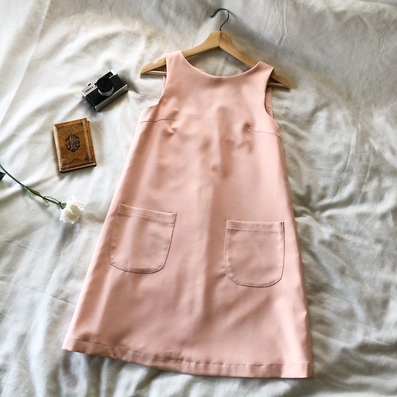 A Line Dress Pink One Piece Sleeveless Front Pockets Casual image 0