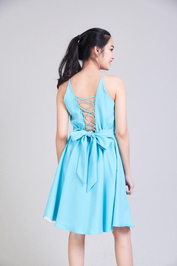 Pastel Blue Prom Dress Cross Rope Robin Eggs Blue Dress Etsy