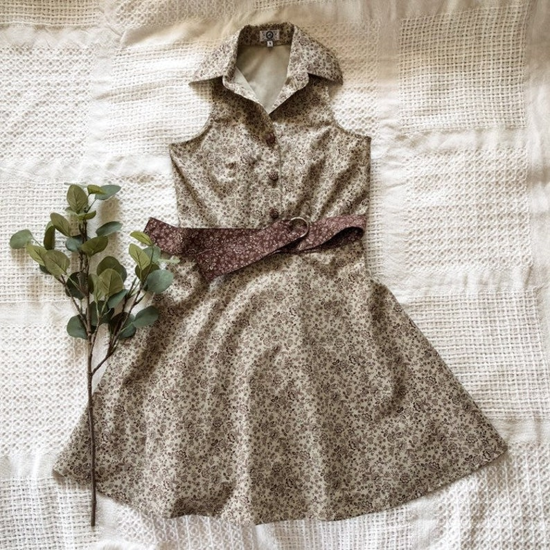 Shirt Dress Cotton Linen Autumn Leaf Print in Brown Vintage image 0