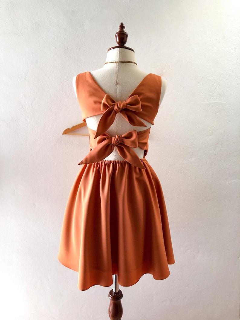 Ella Dress Caramel Brown Back bow party dress vintage retro Khaki bridesmaid gown summer fashion sundress swing cute twin bow quirky design
