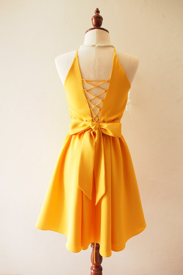 Swing Dance Dress Prom Dress Crisscross Dress Mustard Dress Knee