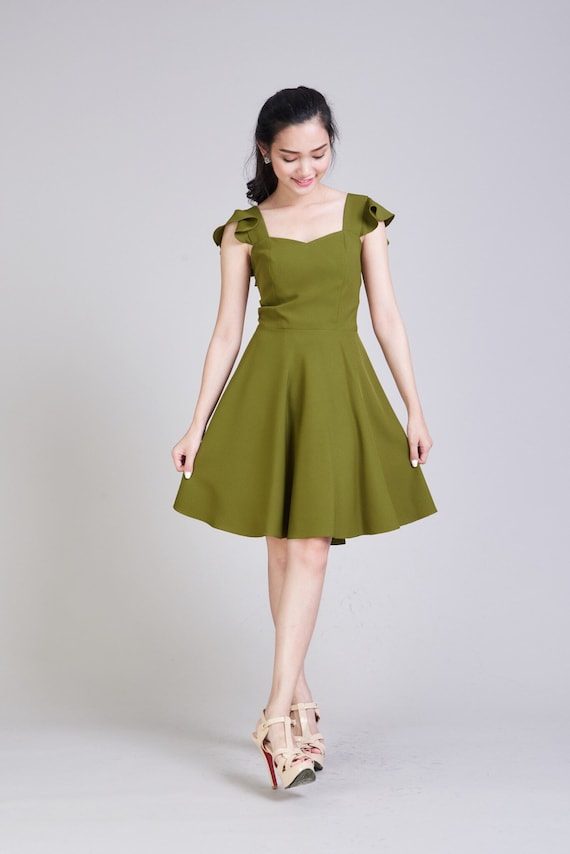 Olivia Olive Green Dress Bridesmaid Dress Gown Wedding Party Etsy