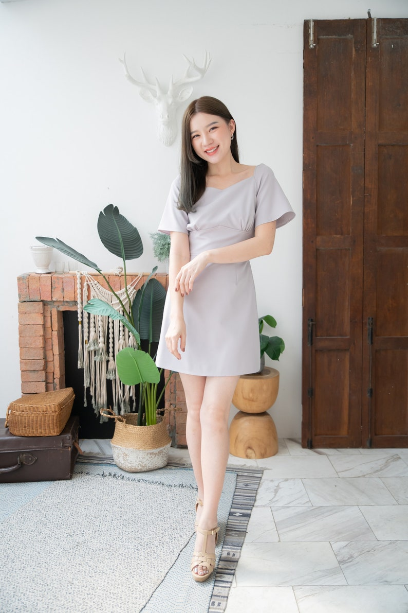 Gray Party Dress A-line Dress Summer Office Wear Flare prom image 0