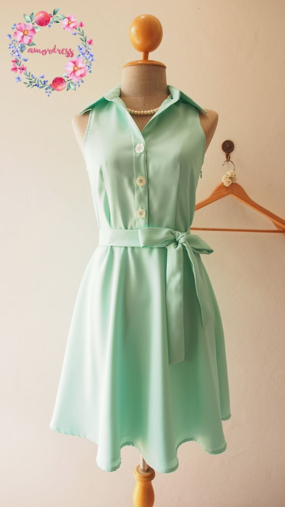 Downtown Moderne Vintage Mint Grun Shirt Kleid Sommer Kleid Etsy