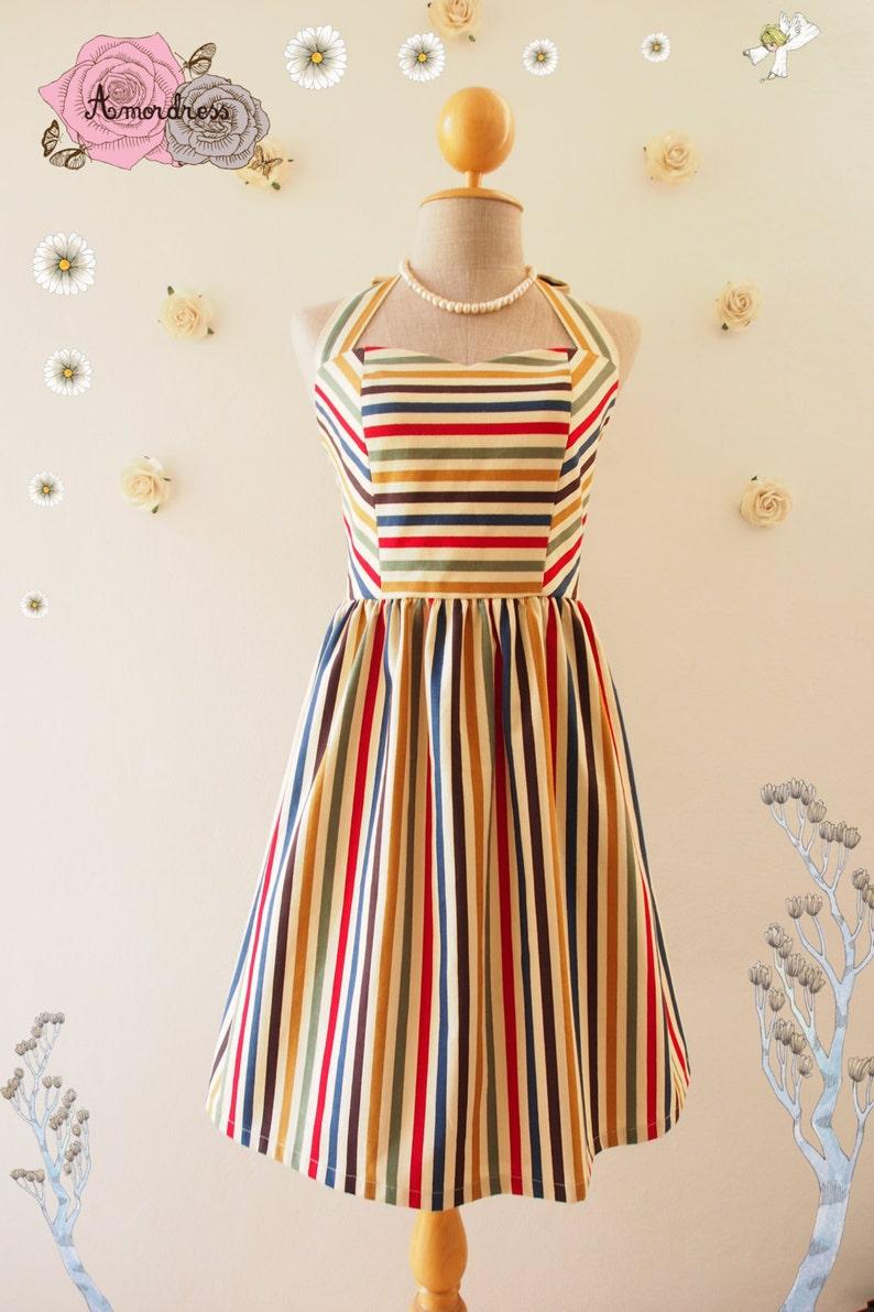 Cute Sun Dress Retro stripe dress sundress Swing Dance Dress image 0