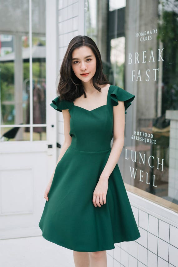 Olivia Party Dress Prom Dress Forest Green Dress Formal Etsy