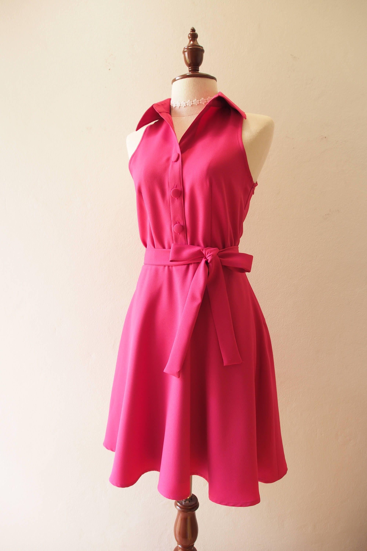 Downtown Fuchsia Dress Shirt Dress Day Fuchsia Pink Bridesmaid Etsy