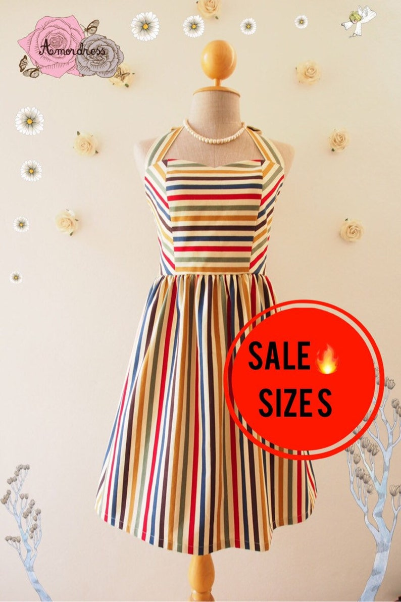 SALE Size S  Sun Dress Retro stripe dress sundress Swing image 0