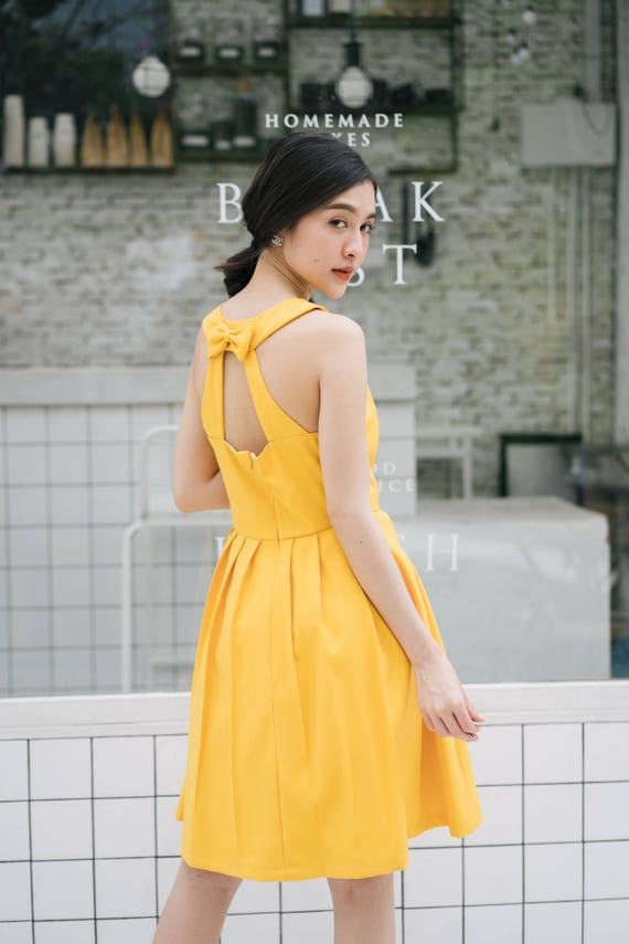 Mustard Yellow Prom Dress Sundress Audrey Hepburn Yellow Party Etsy