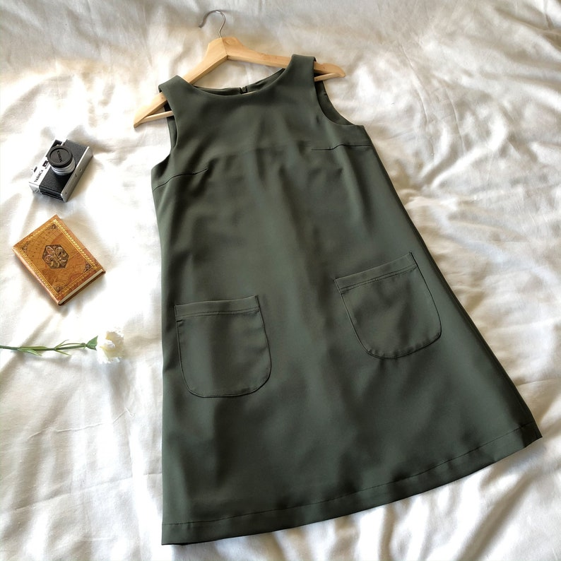 A Line Dress Green One Piece Sleeveless Front Pockets Casual image 0