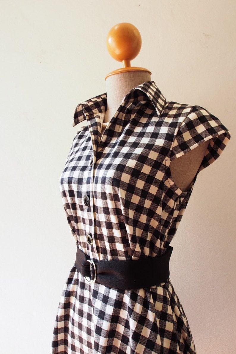 2019 Summer Dress Black Gingham Dress Cap Sleeve Shirt Dress image 0