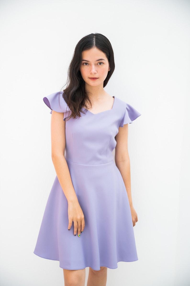 Alita  Sweetheart Dress Purple ruffle sleeve swing skirt image 0