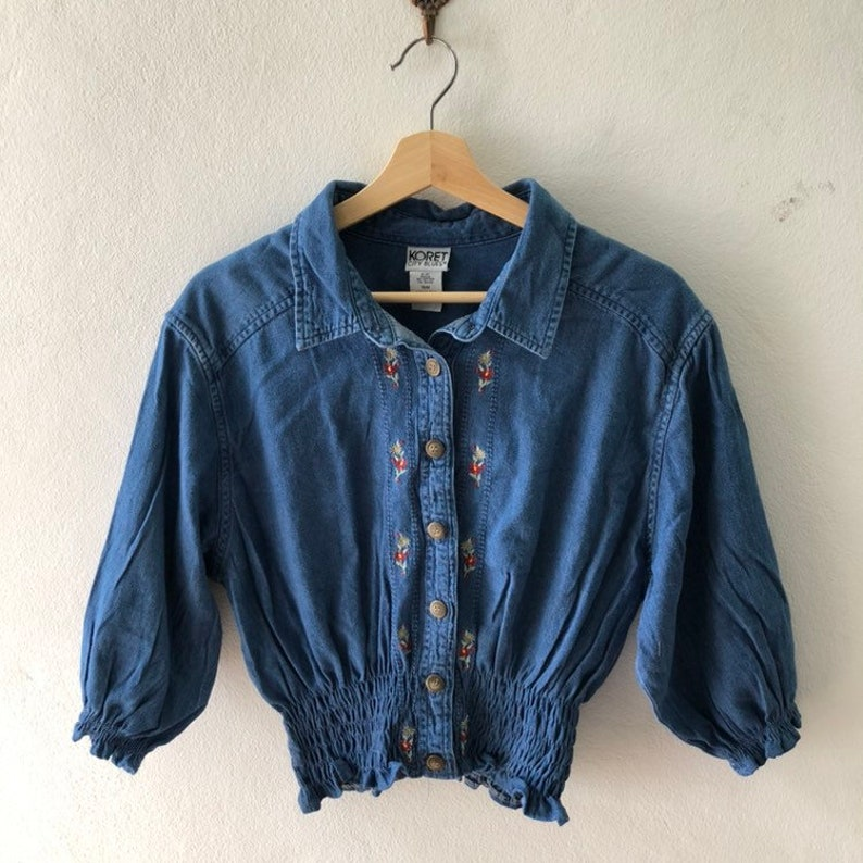 Vintage Floral Embroidery Denim Shirt Dolly Fluffy Sleeve image 0