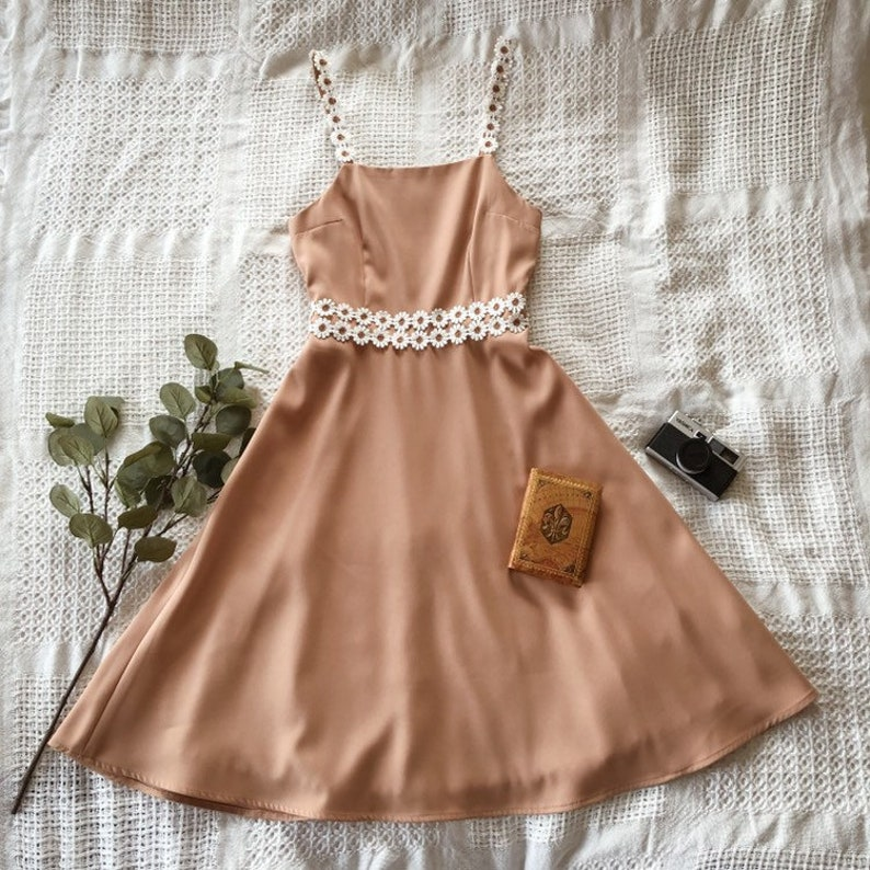 Straps Dress Tan Dress with Floral Lace Fit and Flare Vintage image 0