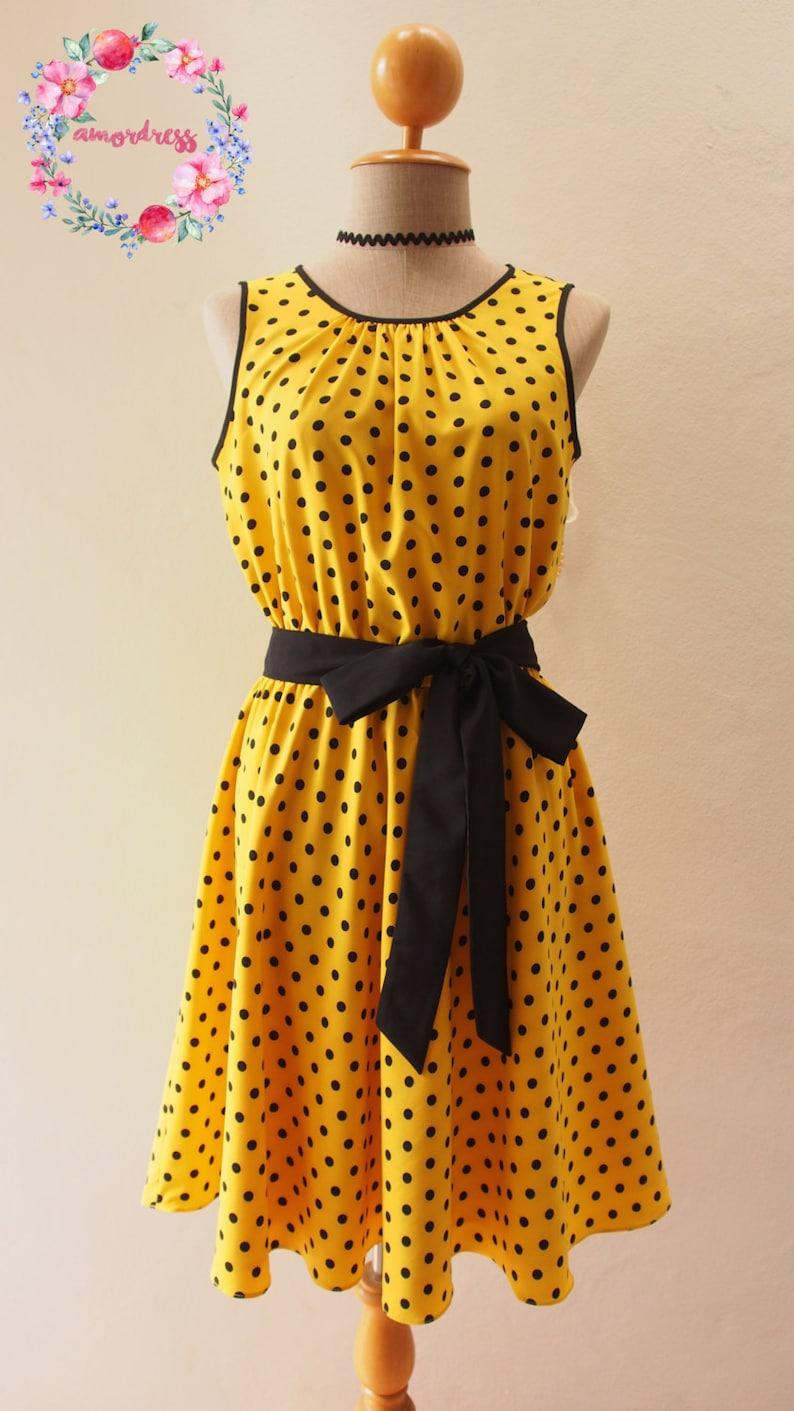 86c3a8bb12 Yellow Dress Polka Dot Dress Retro Summer Dress Sundress