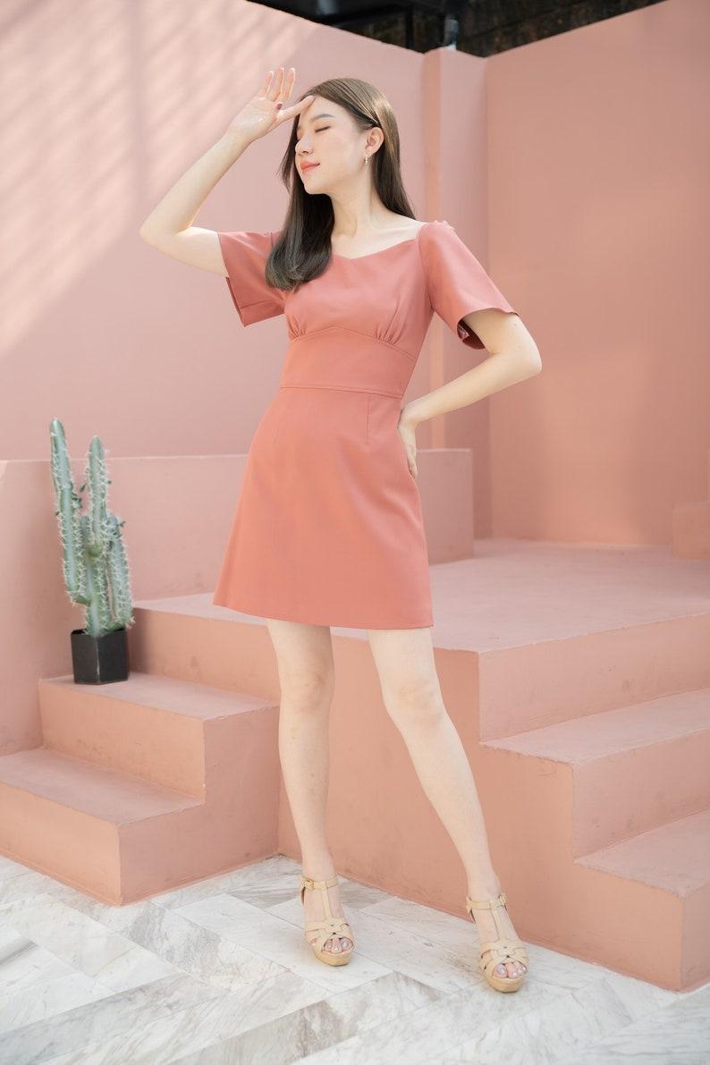 A-line Dress Summer Office Wear Flare Short Sleeve Mini Dress image 0