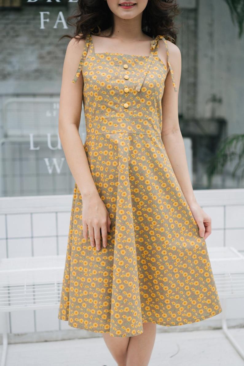 ec0b0446ea2 Sundress Summer Dress Mia Sunflower Dress Cotton Dress Slip