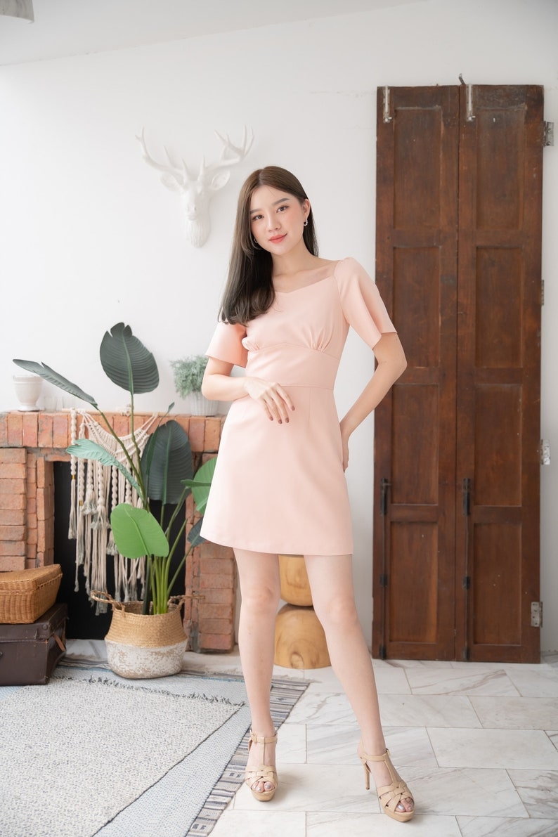 Old Rose Pink Party Dress A-line Dress Summer Office Wear image 0