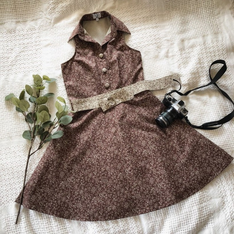 Cotton Dress Shirt Dress Linen Autumn Leaf Print in Brown image 0