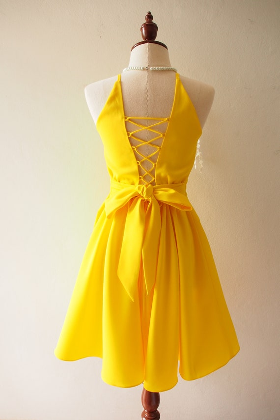 Items similar to Canary Yellow Dress Prom Dress Swing Dance