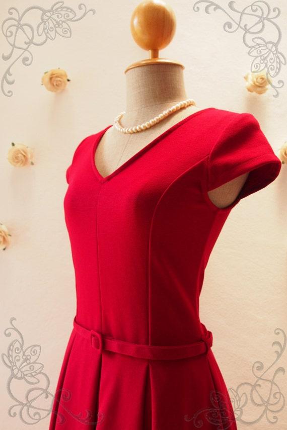 Red Tea Length Dress