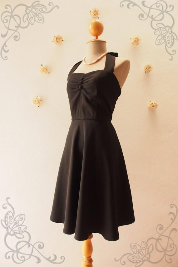 Black Vintage Prom Dress Black Halter Dress Swing Dress Sexy Etsy