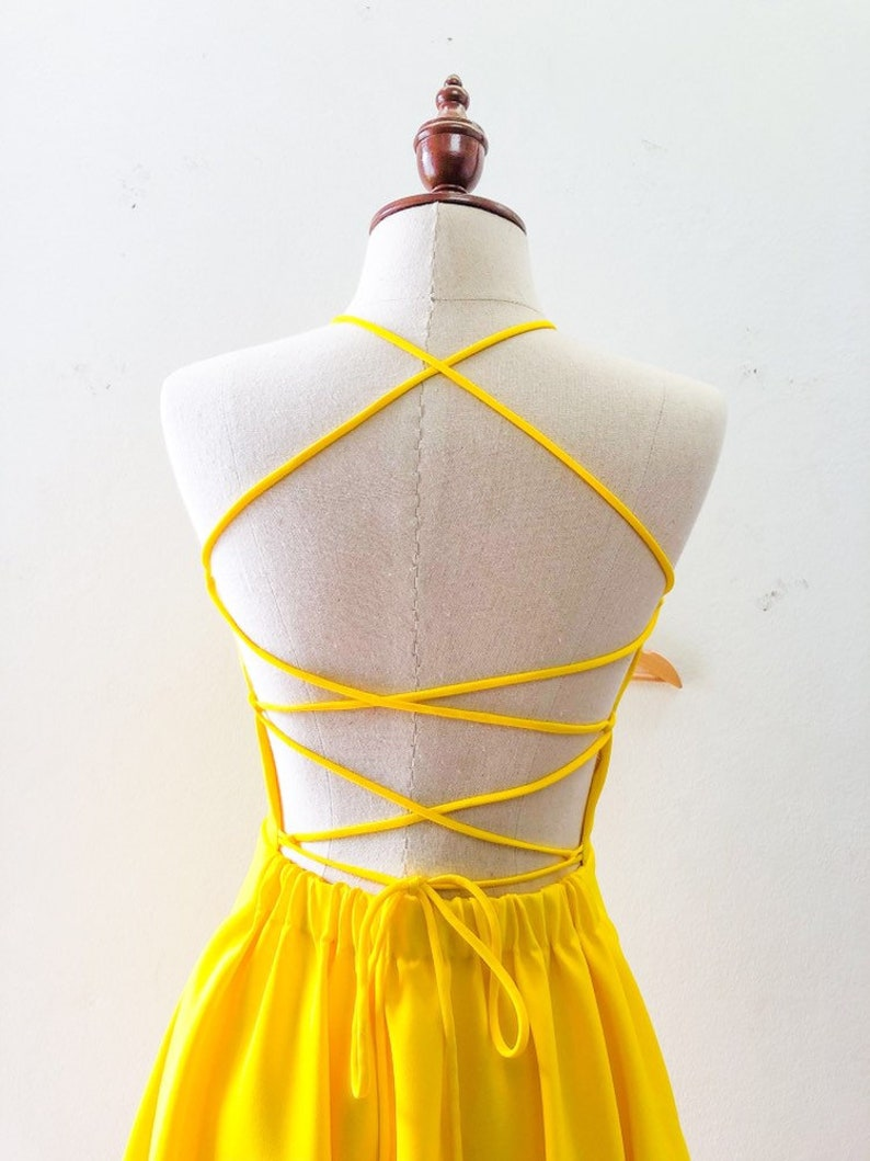 2019 Backless Dress Lemon Yellow Dress Back Bow Tied Sexy Back image 0