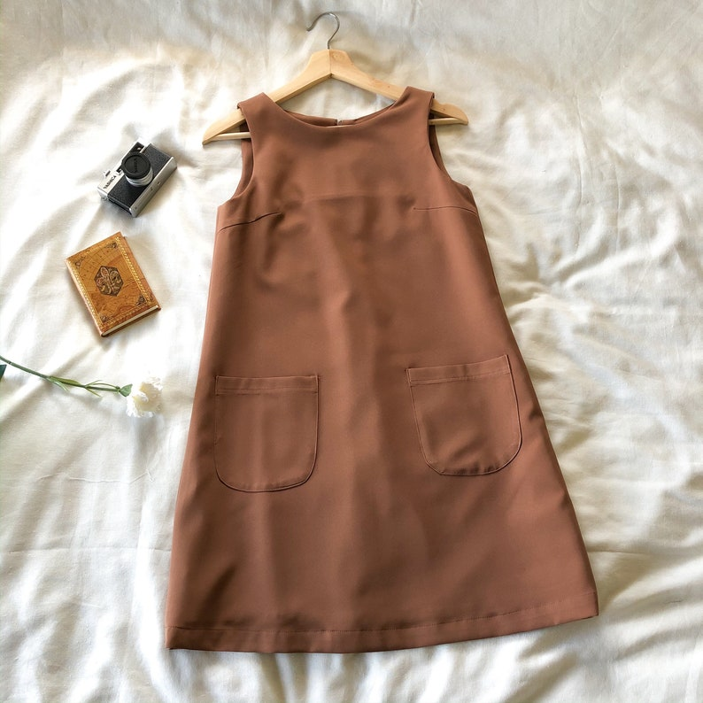 A Line Dress Brown One Piece Sleeveless Front Pockets Casual image 0
