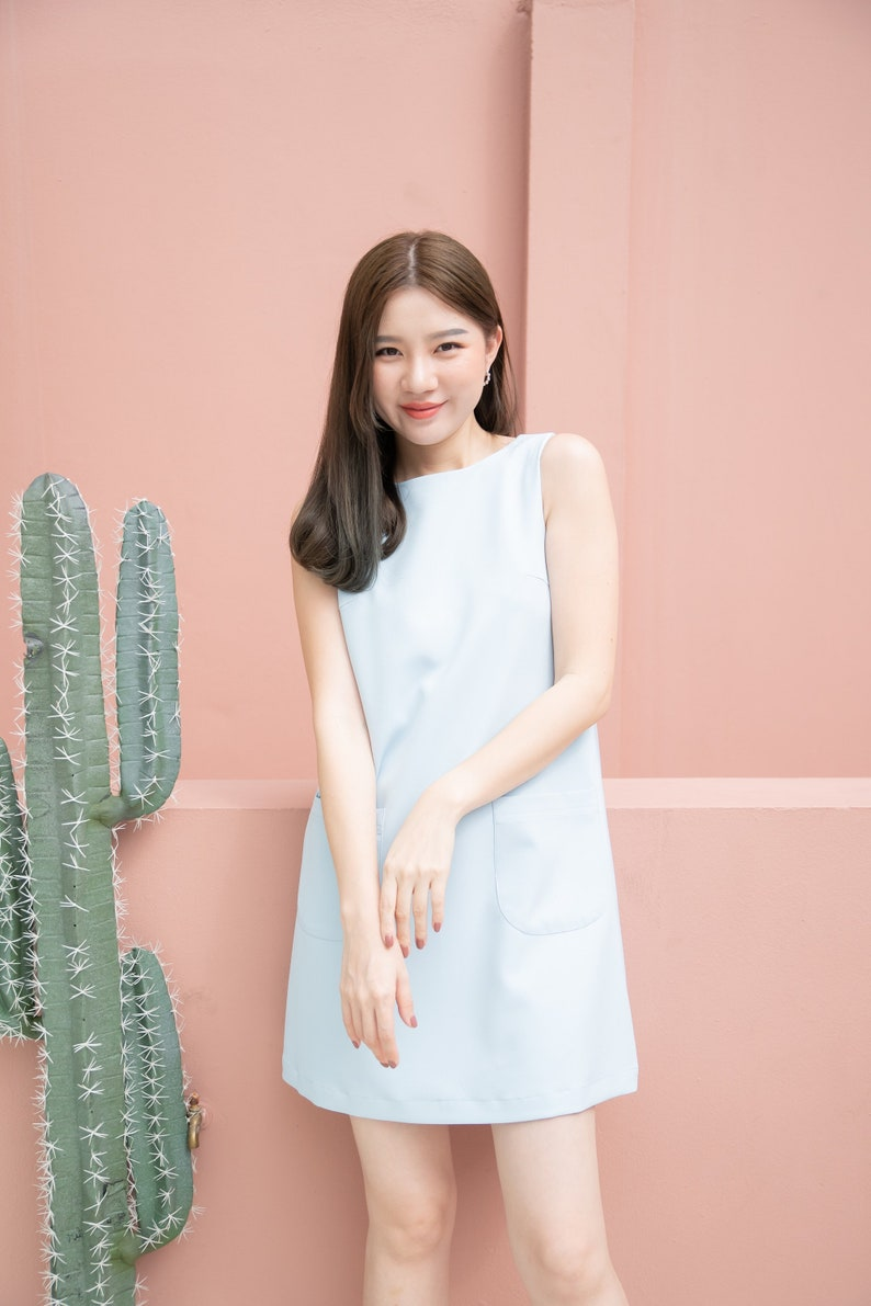 Minimal Outfit Women Baby Blue A Line Dress One Piece image 0
