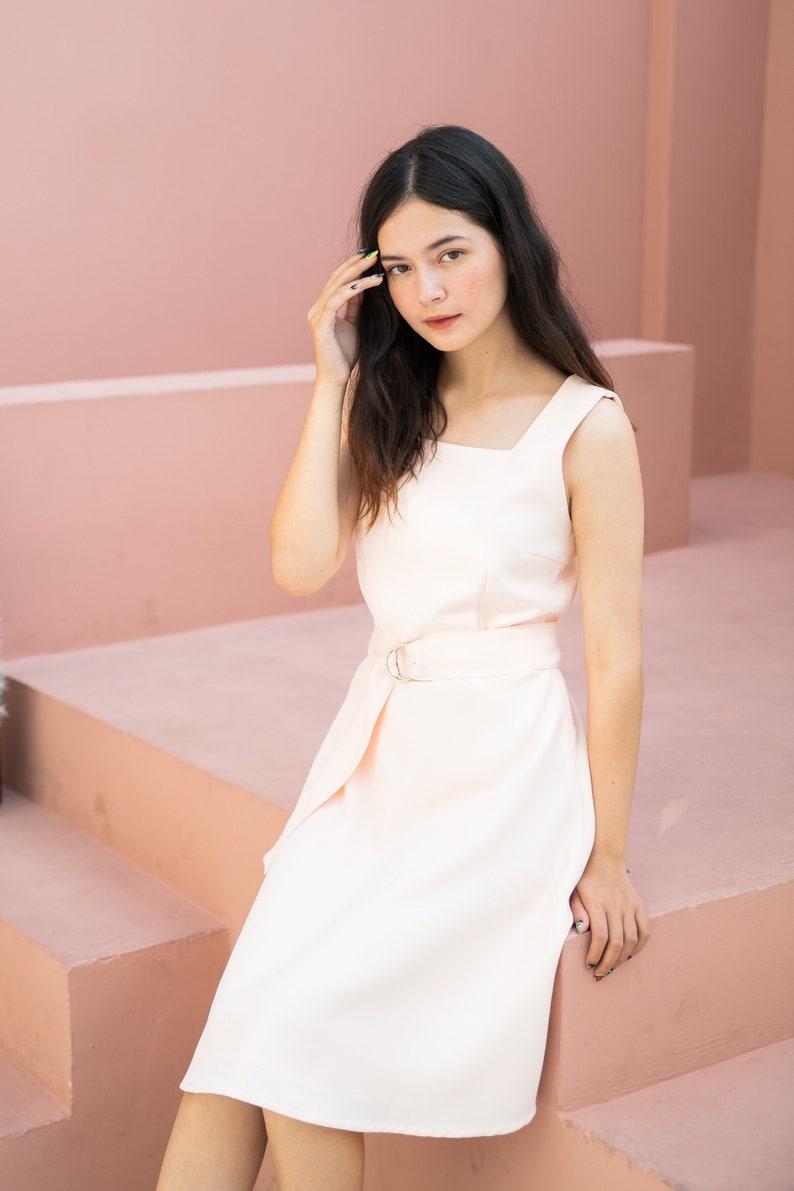 Light Peach Pink Dress Vintage Rustic Wedding Party Dress Fit image 0