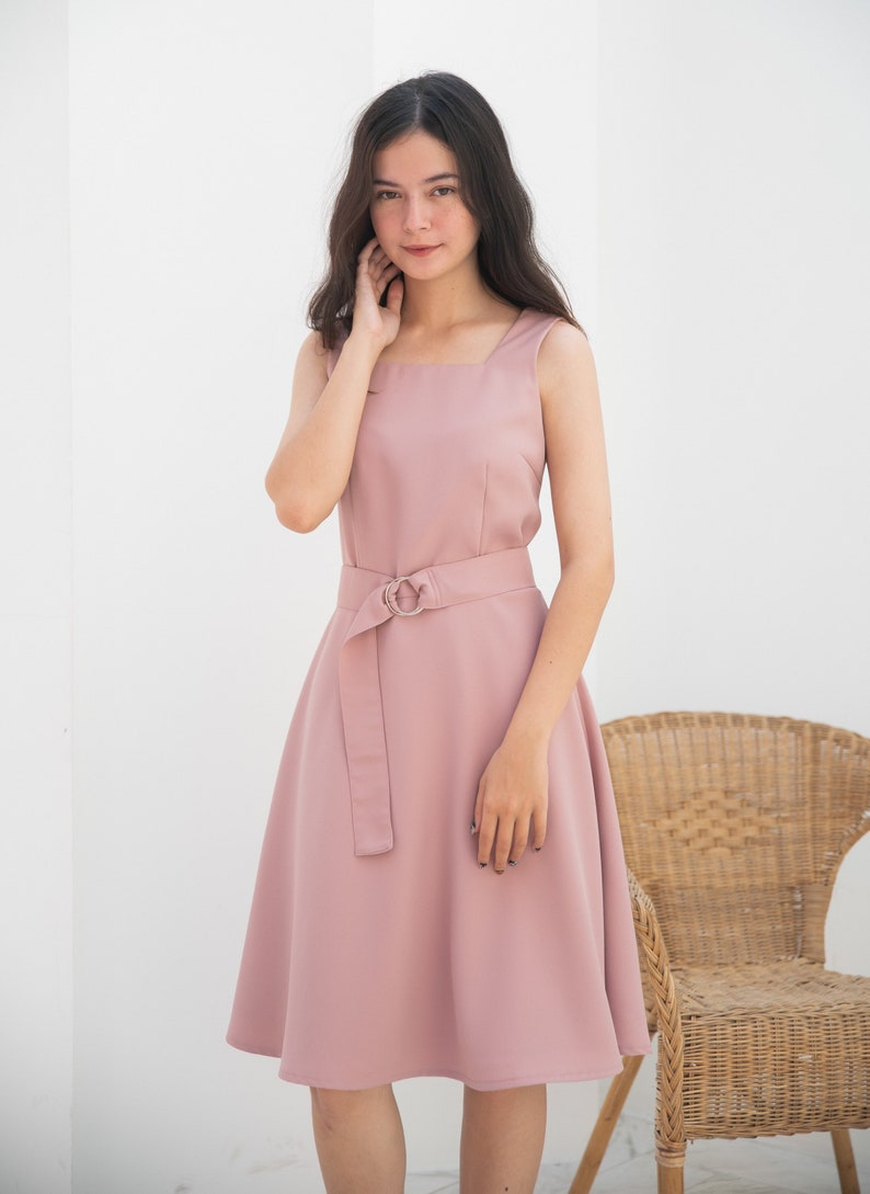 Nude Pink Dress Sundress Summer Vintage Rustic Wedding Prom image 0