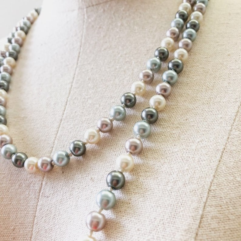 2019 Long Pearl Necklace Multilayered Pearl Necklace Party image 0