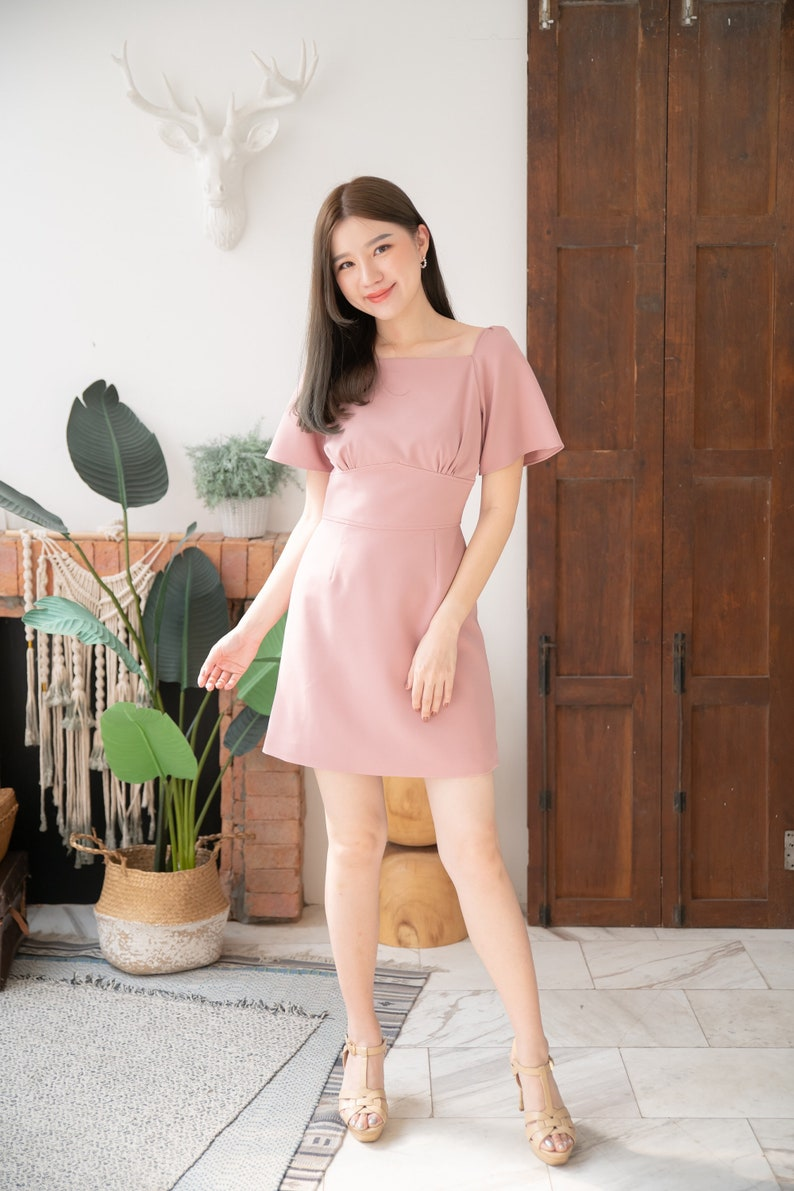 A-line Dress Summer Office Wear Flare prom Short Sleeve Mini image 0