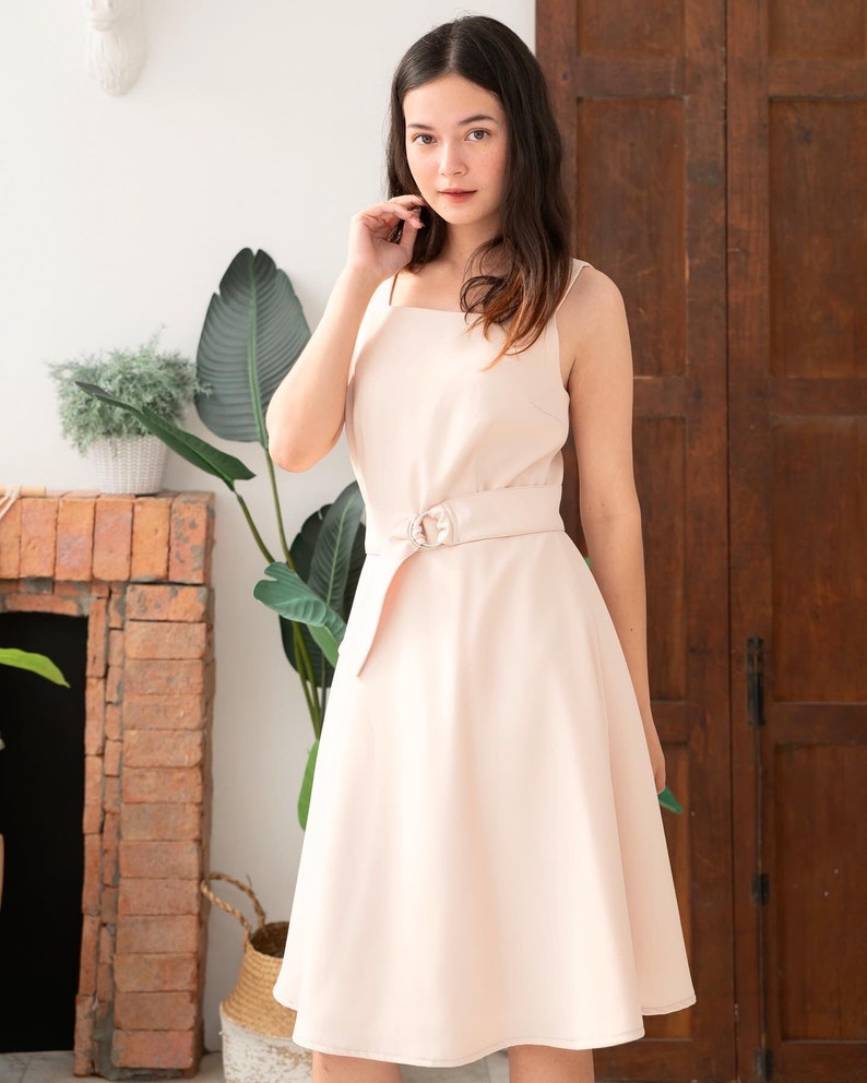 Cream Color Dress Vintage Rustic Wedding Party Dress Fit and image 0