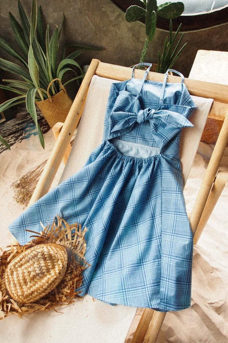 Blue Summer Dress Gingham Dress 2019 Vintage Fashion Sundress image 0