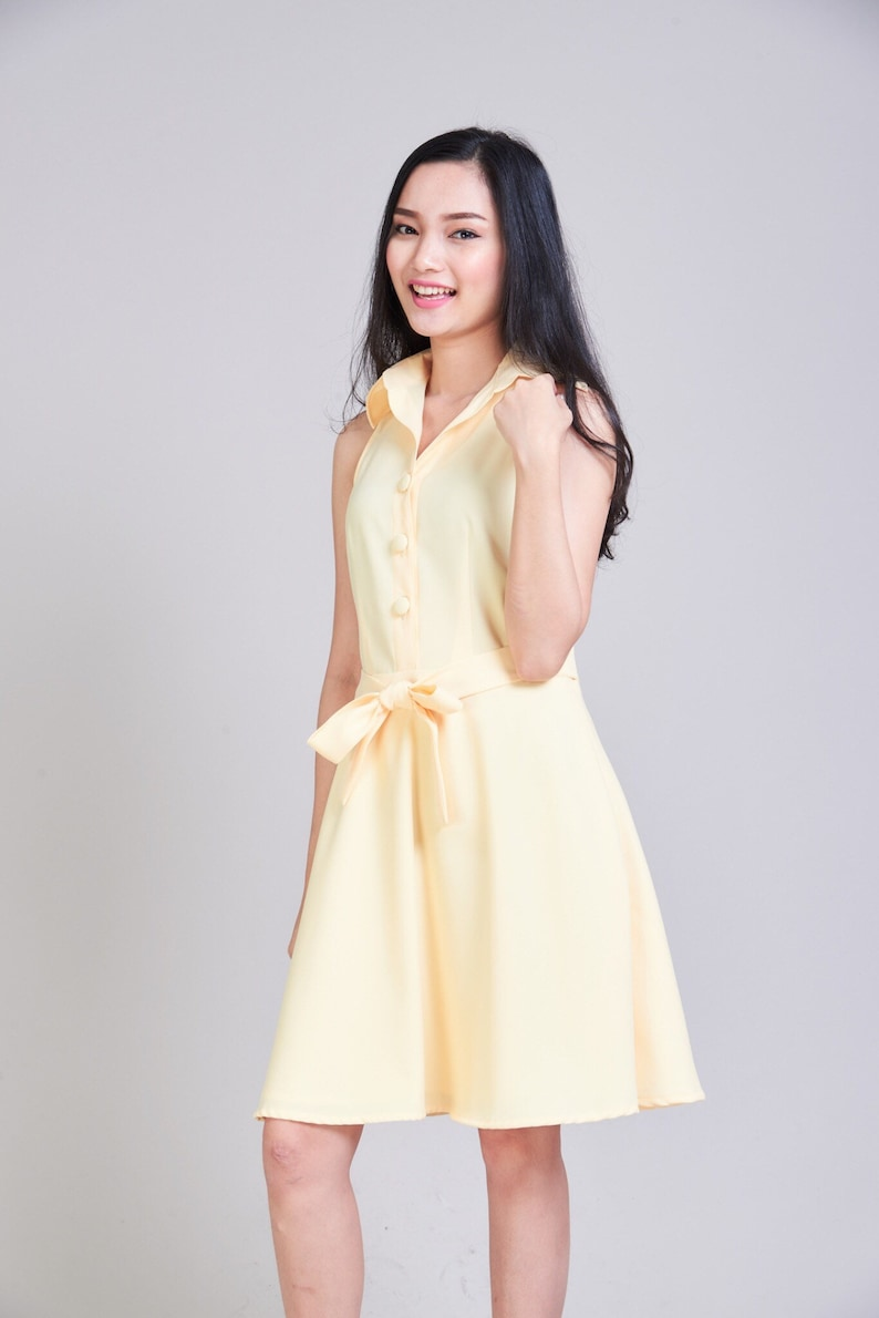 e35f2127ca6 DOWNTOWN Yellow Shirt Dress Pastel Yellow Bridesmaid Dress