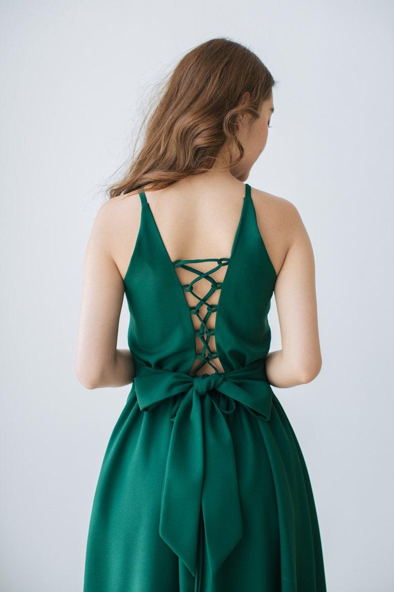 2019 Green Bridesmaid Dress Forest Green Maxi Dress Wedding image 0