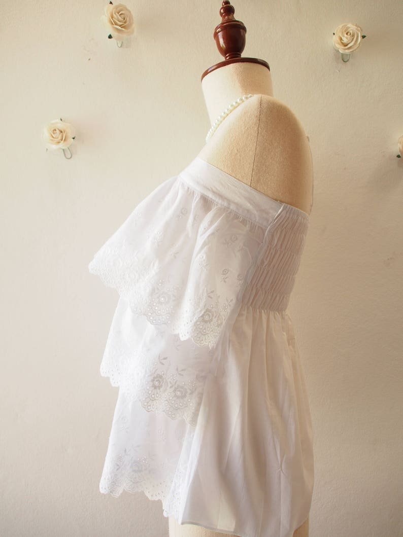 Free Size US0-US6 Lace Top Spaghetti straps Top Adjustable White Lace Top Summer Beach Boho Minimal Style