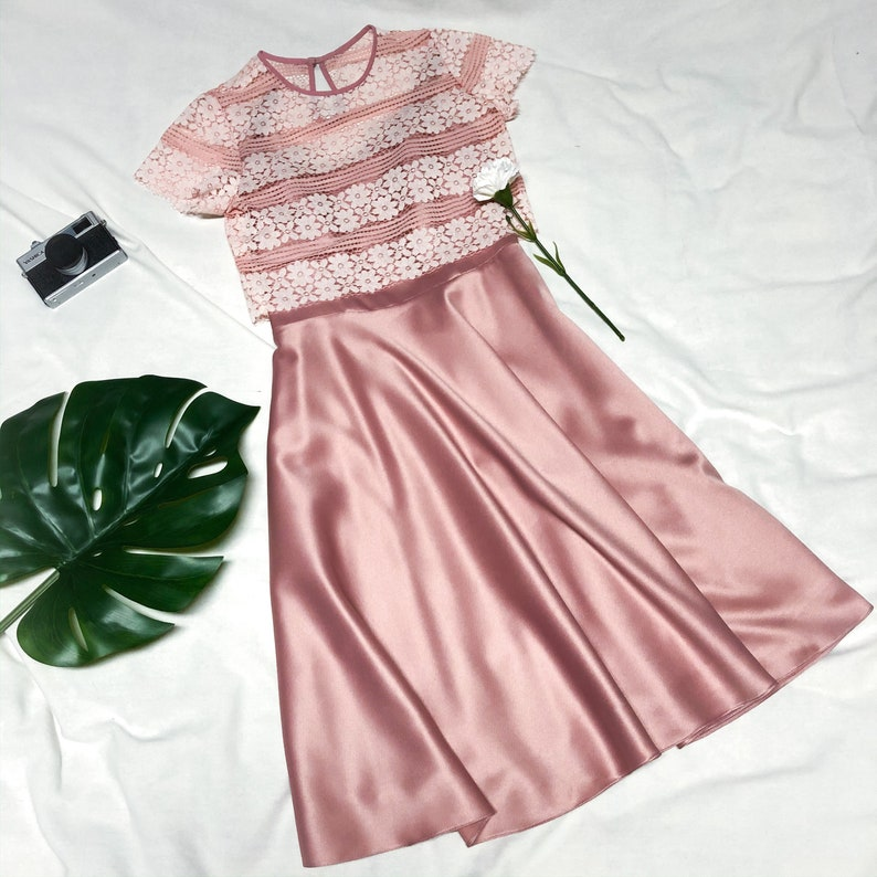 Pink Lace Dress Blush Pink Party Dress Crop Top And Spaghetti image 0