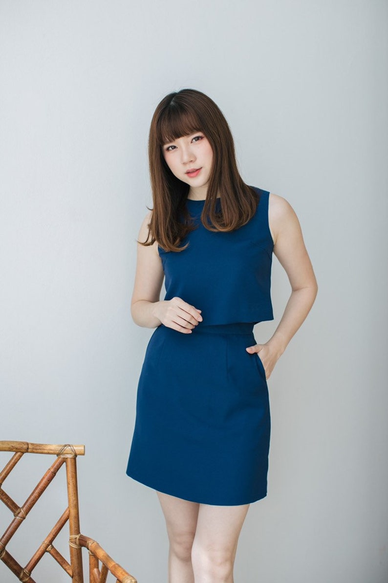 Stella Crop Top and Skirt Set A Line Skirt with Sleeveless image 0