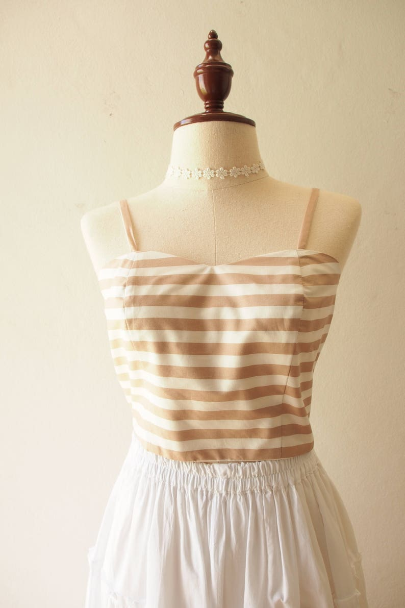 Spaghetti Straps Top Long Bow Crop Top Mocha Brown Stripe Back Self-Tie Bow Beach Holiday Clothing