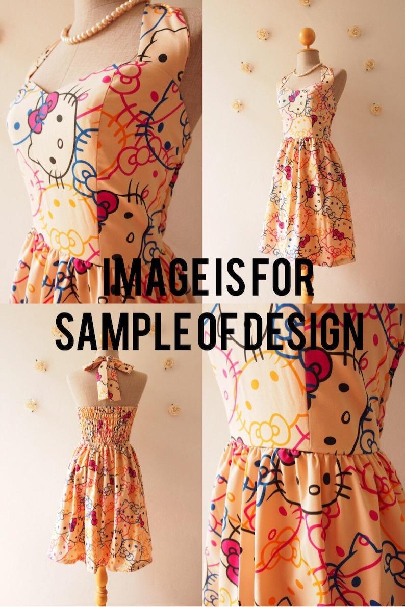 Size M  Hello Kitty Cute SunDress Kawaii Halter Dress image 0