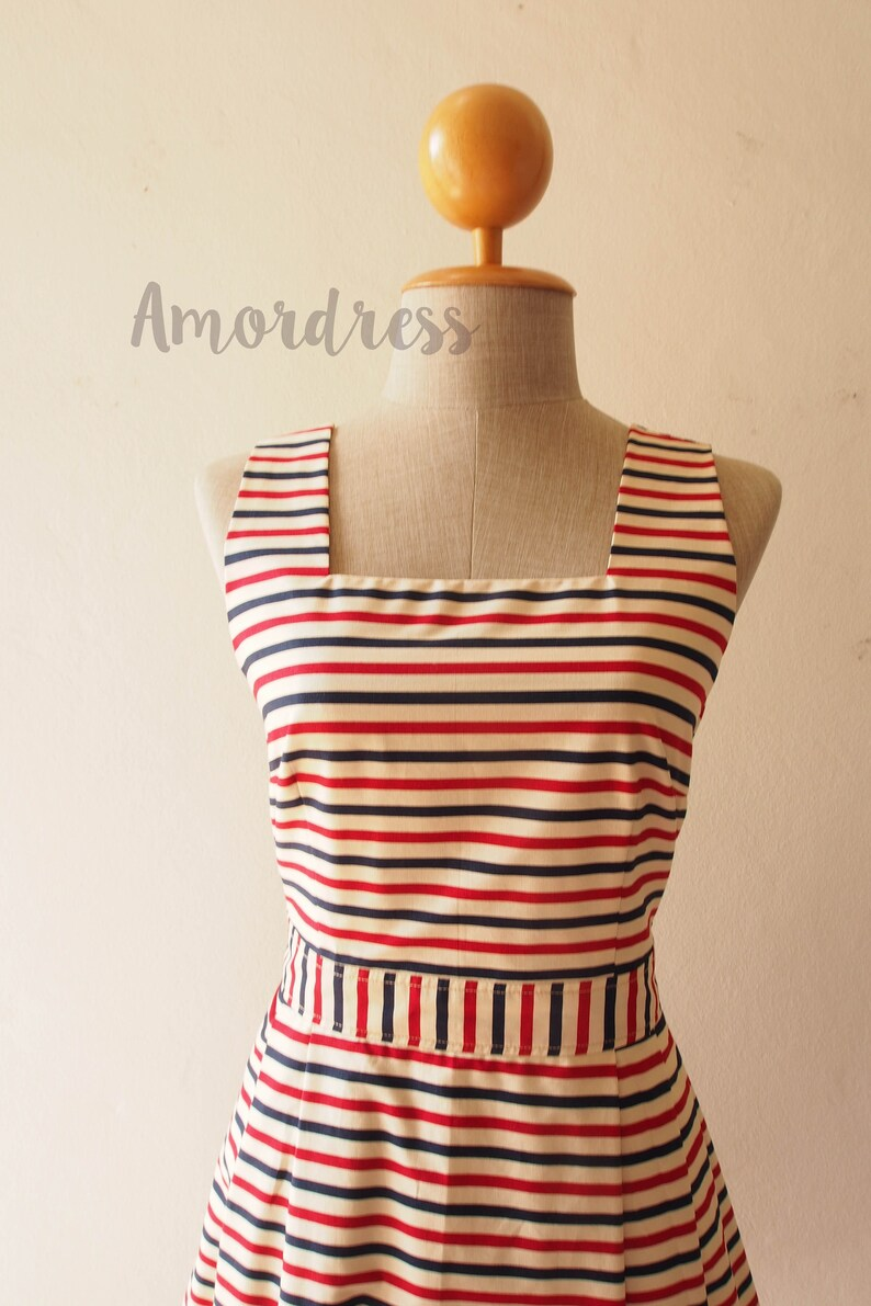11b6c7a17bc Summer Dress Nautical Dress Vintage Sundress Beach Dress