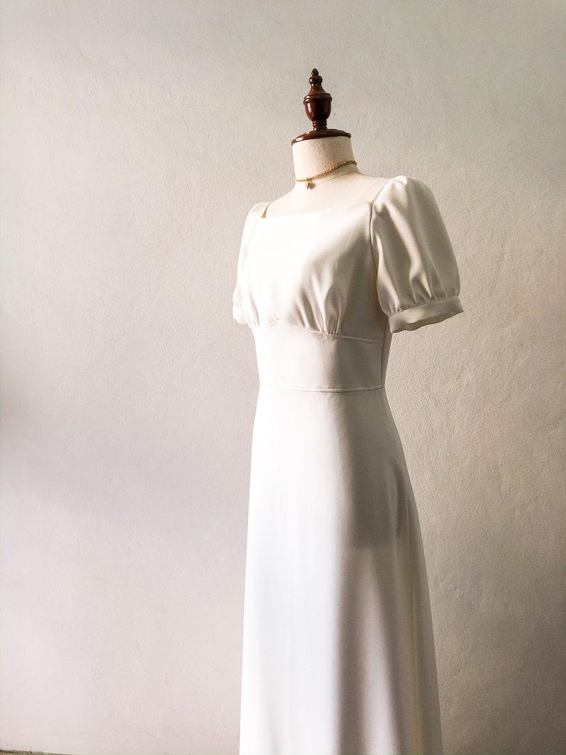 Vintage Wedding Dress WHITE MAXI DRESS Snow White Dress Sleeve image 0