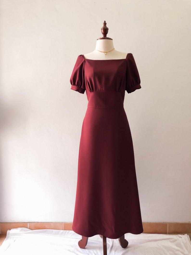 Snow White Dress Dark Maroon Burgundy Sleeve Party Dress Puff image 0