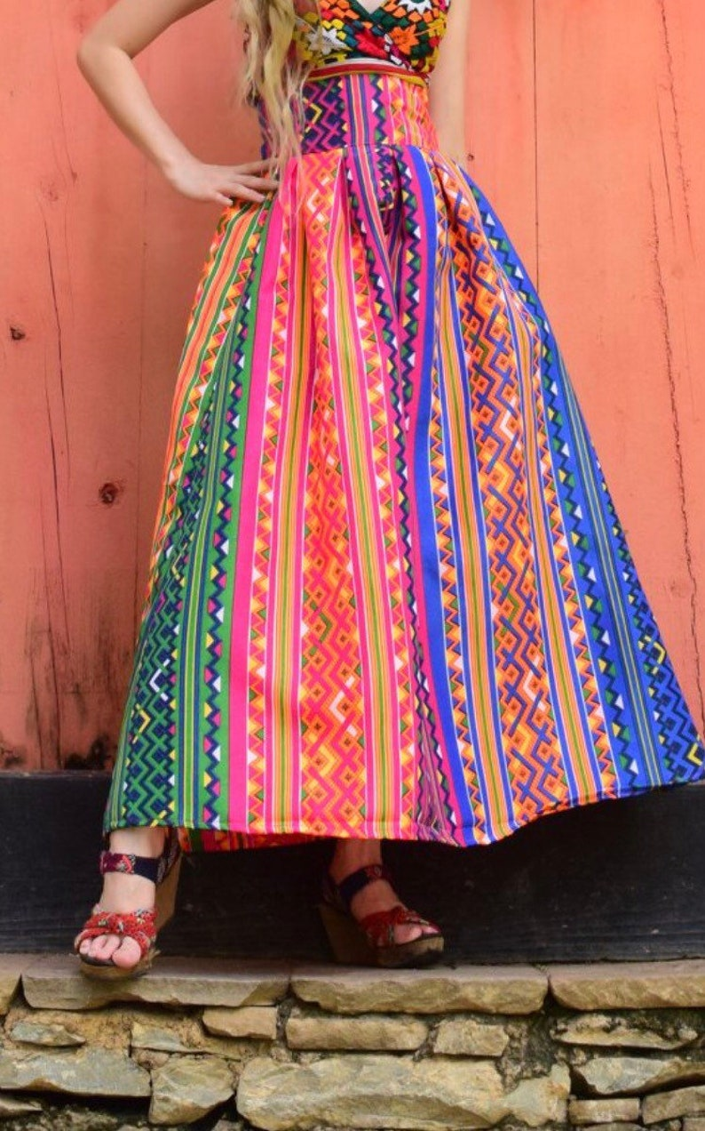 Ethnic High waist Print Skirt Long Boho Skirt Colorful image 0