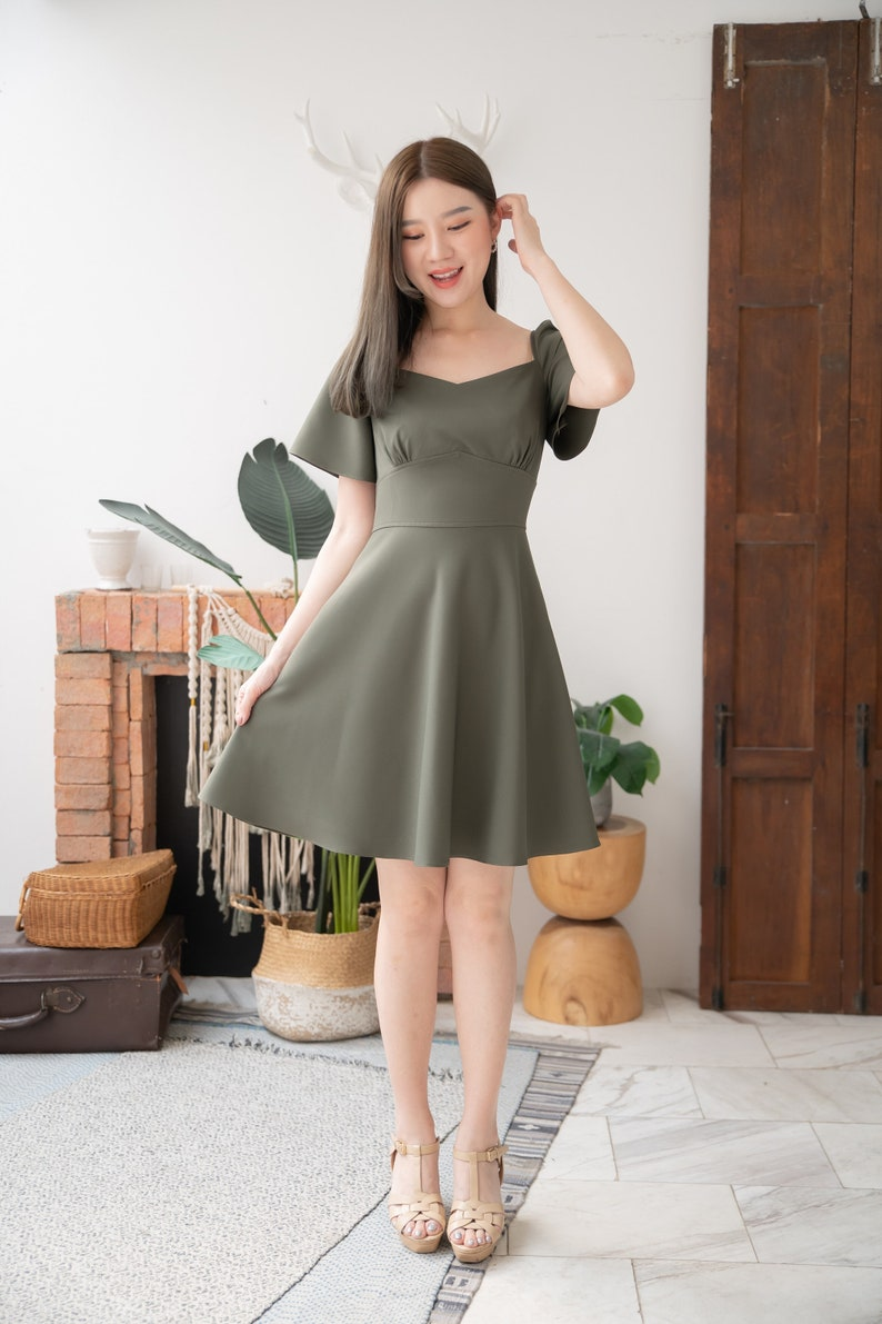 Army Green Dress Swing Party Dress Summer Office Wear Flare image 0