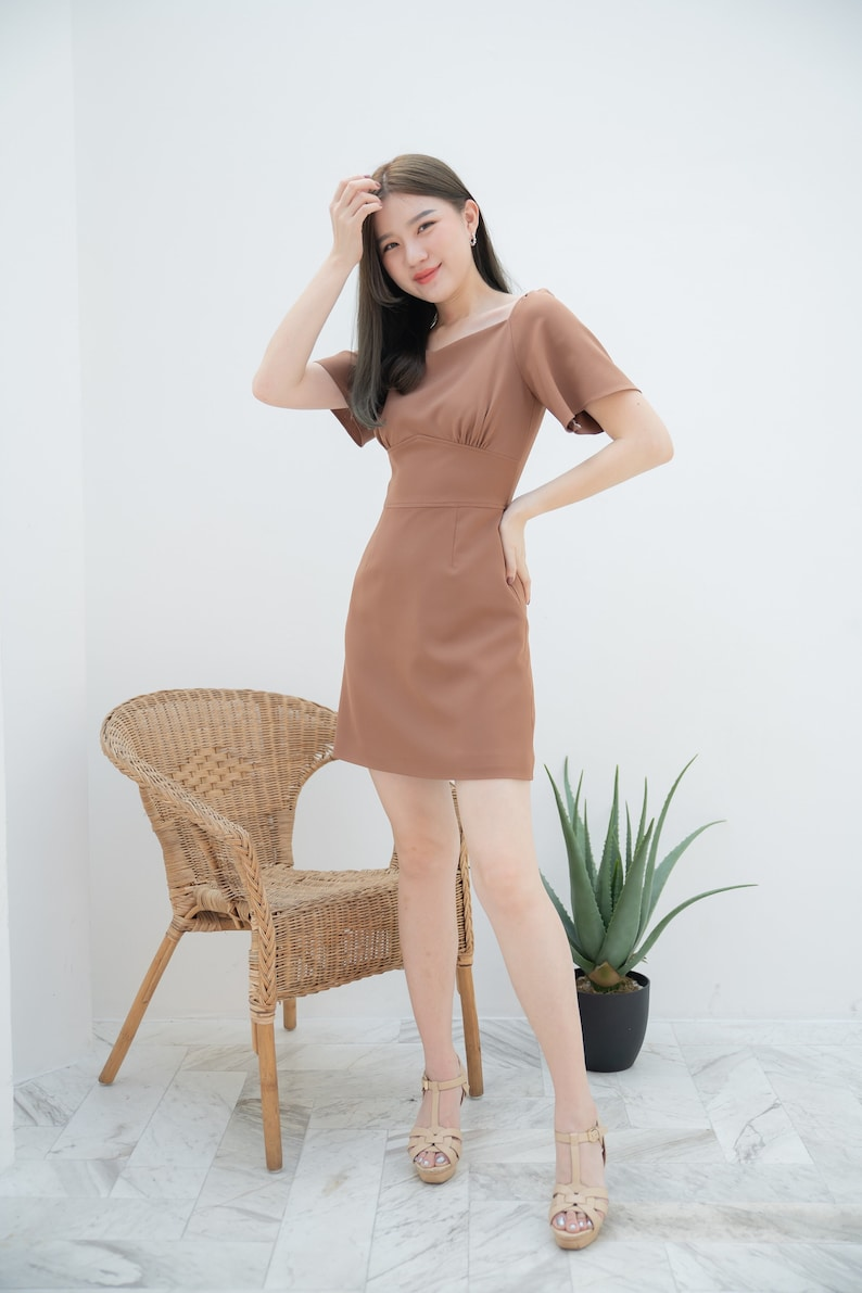 A-line Dress Summer Office Wear Flare Short Sleeve Mini Dress image 0
